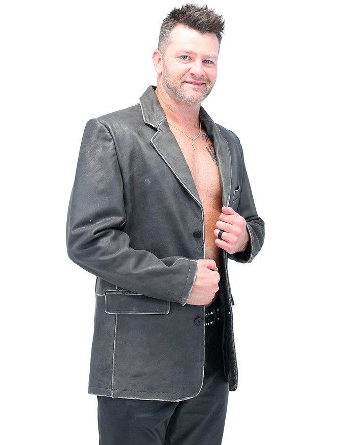Jamin Leather Vintage Brown Leather Blazer #MA161DN