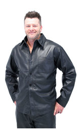 Jamin Leather Men's Lambskin Leather Shirt - Button Down Leather Dress Shirt #MS2161