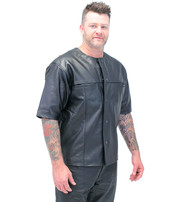 Jamin Leather Short Sleeve - Half Sleeve Leather Shirt w/Sport Collar #MSS9013K
