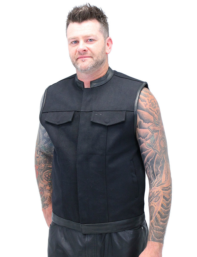 Men's Black Denim & Leather Club Vest w/CCW Pocket #VMC3010K