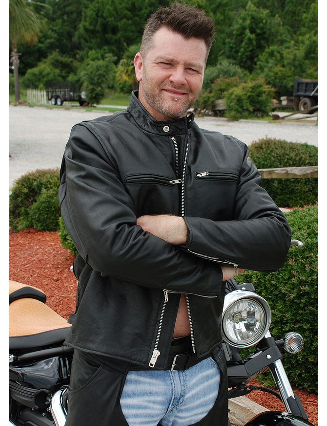 Jamin Leather Rebel Rider Cafe Racer Leather Motorcycle Jacket #M11025