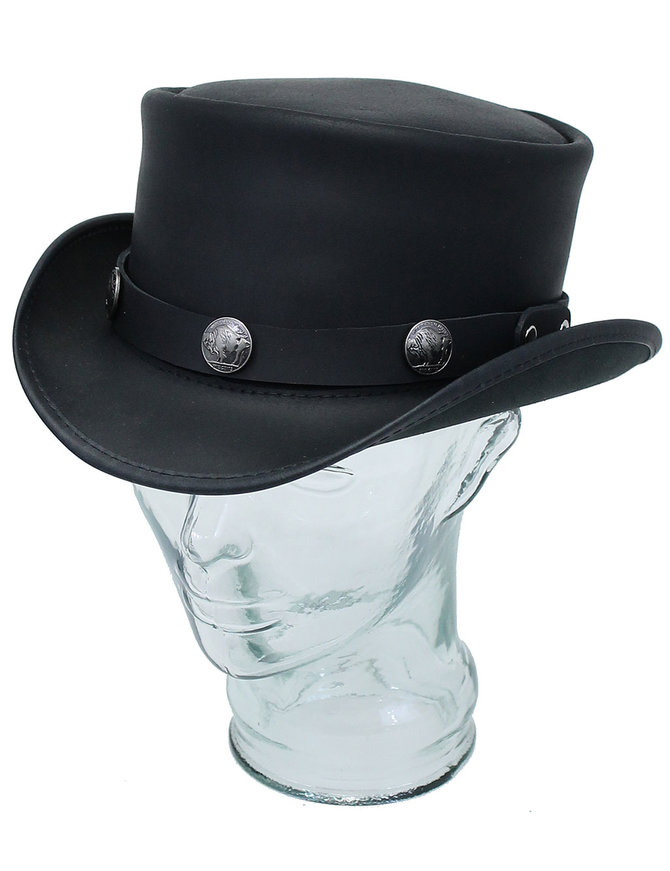 USA Brand Buffalo Nickle Black Leather Top Hat #H56501BUFK