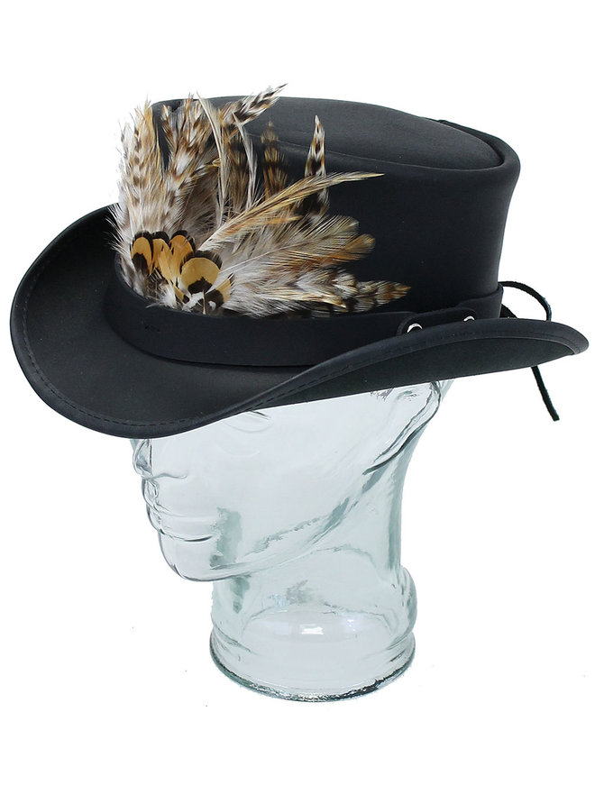 Made in USA Steampunk Black Leather Top Hat w/Large Feather Hatband #H56503XFK
