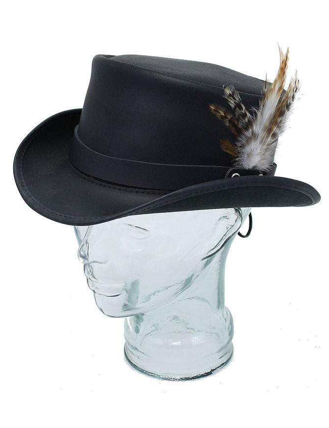 USA Brand SteamPunk Black Leather Marlow Top Hat #H63MARLO
