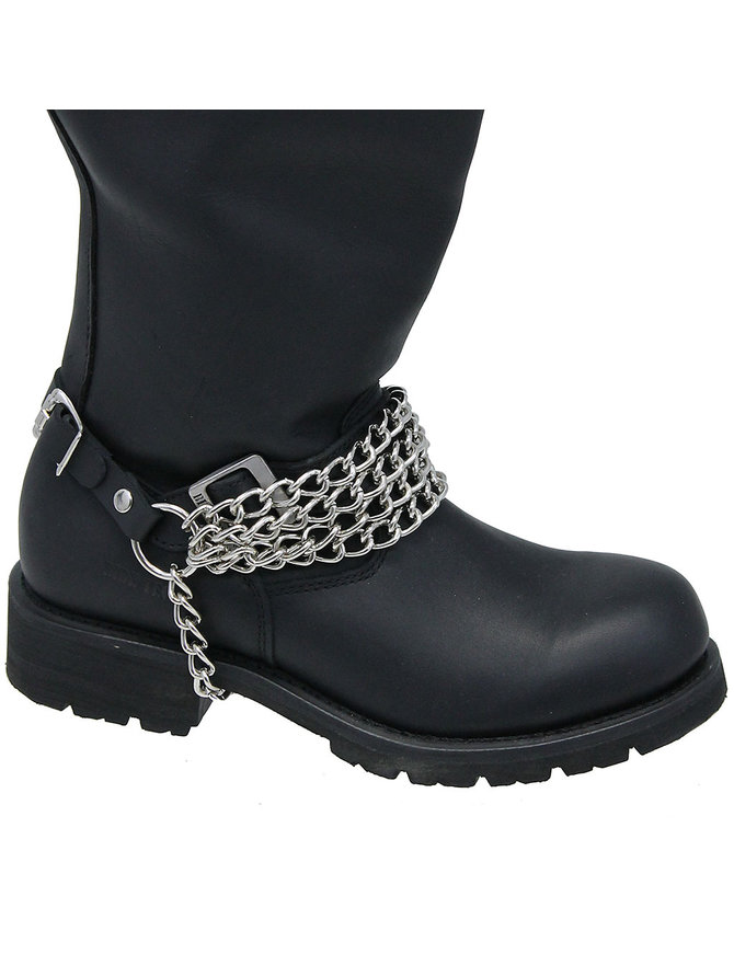 Jamin Leather Quadruple Heavy Chain Leather Boot Straps #BS41XK