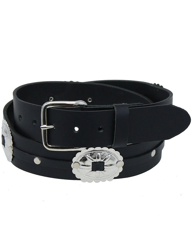 Large Oval Concho Premium Veg-Tan Black Leather Belt #BT428CK