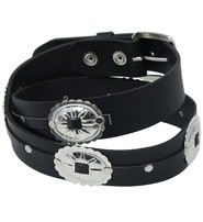 Large Oval Concho Premium Veg-Tan Black Leather Belt #BT428CK