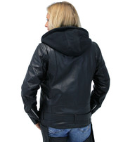 First MFG Women's Naked Leather Motorcycle Jacket with Hoodie #L185NHGK