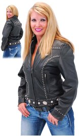 Women's Stud and Concho Leather Jacket #L248SCK (XS-S)