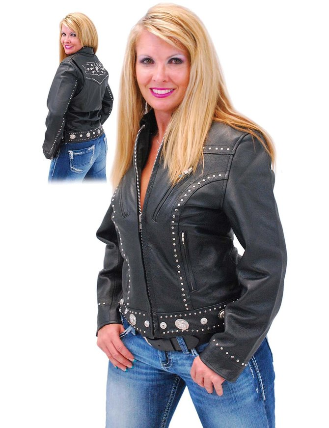 Women's Stud and Concho Leather Jacket #L248SCK