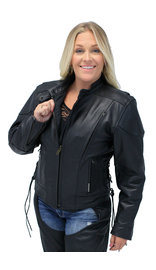 Vented Eagle Leather Jacket for Women #L356VZ (XS-6X)