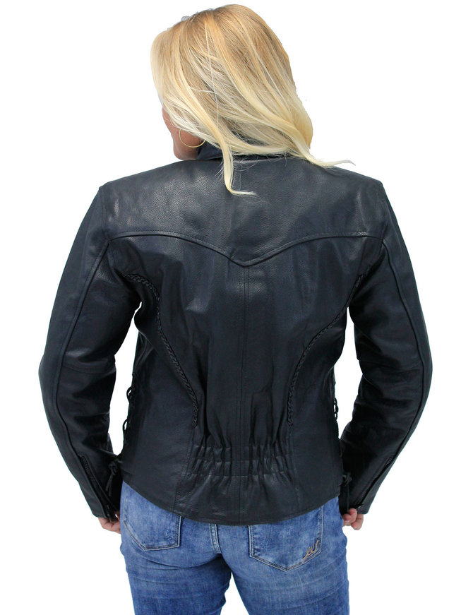 Jamin Leather Braid Trim Leather Motorcycle Jacket for Women #L472ZL