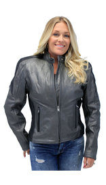 Women's Gray and Black Vented Scooter Motorcycle Jacket #L726ZPS (S-3X)