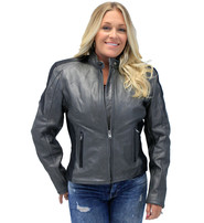 Women's Gray and Black Vented Scooter Motorcycle Jacket #L726ZPS