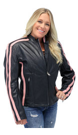 Jamin Leather Pink Striped Leather Jacket - Scooter #L2565SZP (S-2X)