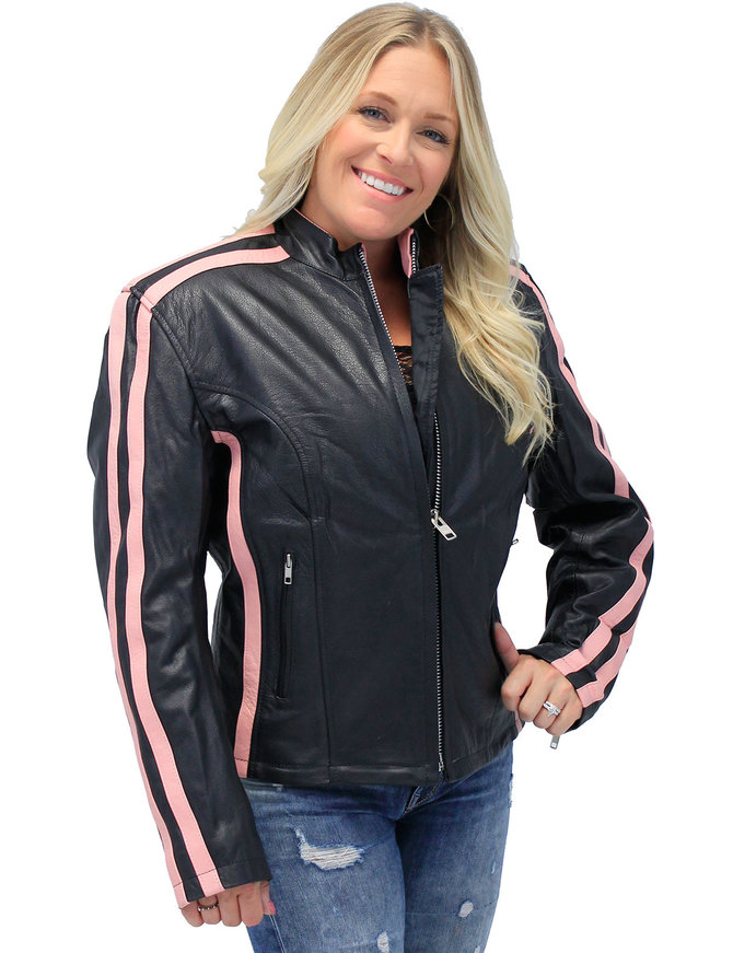Jamin Leather Pink Striped Leather Jacket - Scooter #L2565SZP