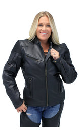 Women's Ultimate Black Racer Vented Motorcycle Jacket w/CCW Pockets #L68330VZRK (XS-5X)