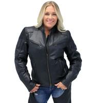 Women's Ultimate Black Racer Vented Motorcycle Jacket w/CCW Pockets #L68330VZRK