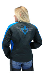 Teal Heart Embroidered Textile Women's Jacket #LC3585HT (XS-5X)