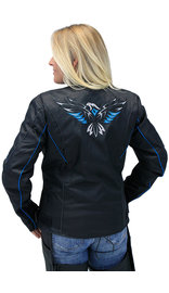 Teal Eagle Embroidered Textile Women's Jacket #LC365350ET (M-XL)