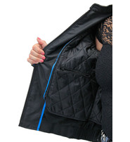 Teal Eagle Embroidered Textile Women's Jacket #LC365350ET