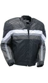 White Stripe Men's Leather/Nylon Vented Jacket w/Armor #MC340920KW (S-5X)