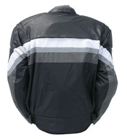 White Stripe Men's Leather/Nylon Vented Jacket w/Armor #MC340920KW