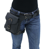 Heavy Leather Thigh Bag with Wide Buckle Straps #TB702031K