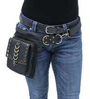 Black Heavy Leather Multi-D-Ring Thigh Bag Waistbag #TB70150DK