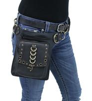 Black Heavy Leather Multi-D-Ring Thigh Bag Waistbag #TB70150DK