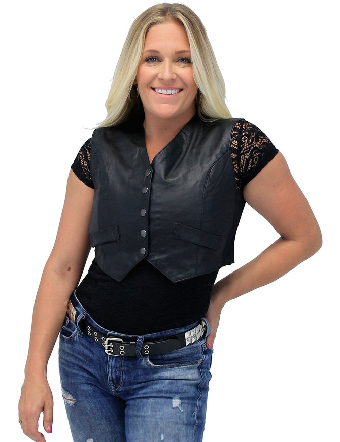 Form Fitting Black Leather Crop Vest #VL1152CK