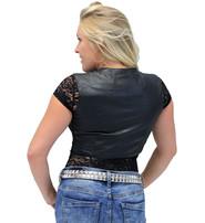 Form Fitting Black Leather Crop Vest #VL1152CK