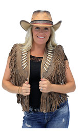 Genuine Bone Studded Brown Fringe Leather Vest #VL4254FBSN (S-XL)