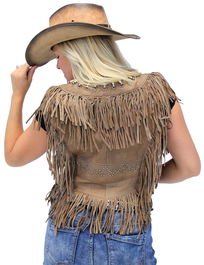 Genuine Bone Studded Brown Fringe Leather Vest #VL4254FBSN
