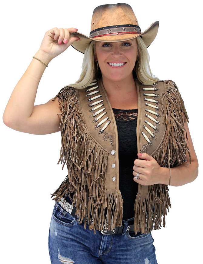 Genuine Bone Studded Brown Fringe Leather Vest #VL4254FBSN