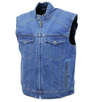 Quilt Lined Blue Denim Club Vest #VMC143U