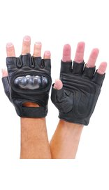 Padded Palm Hard Knuckle Black Leather Fingerless Gloves #G952K