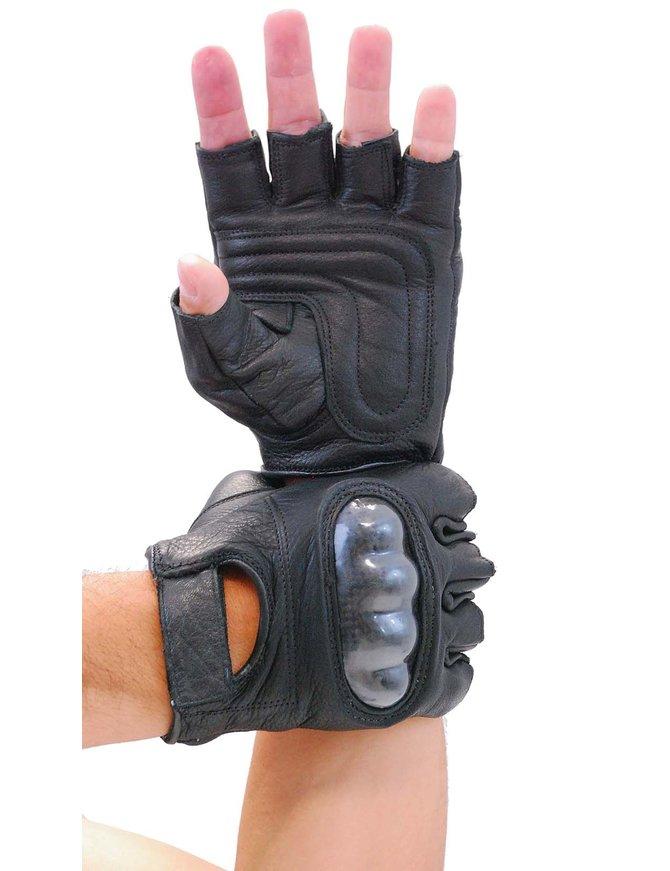 Padded Palm Hard Knuckle Black Leather Fingerless Gloves #G952K