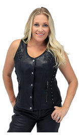 Vance Women's Eyelet Lace CCW Black Leather Vest #VL1038EYGK