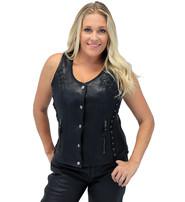 Vance Women's Eyelet Lace CCW Black Leather Vest #VL1038EYGK