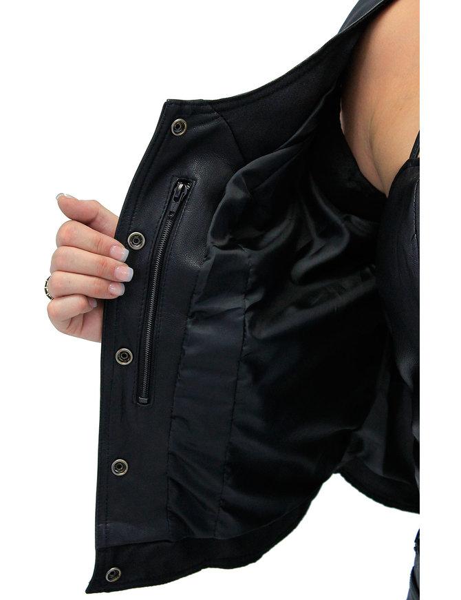 Women's Eyelet Lace CCW Black Leather Vest #VL1038EYGK