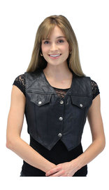 Snap-Up Jean Style Black Leather Crop Vest #VL1110CK (XS-2X)