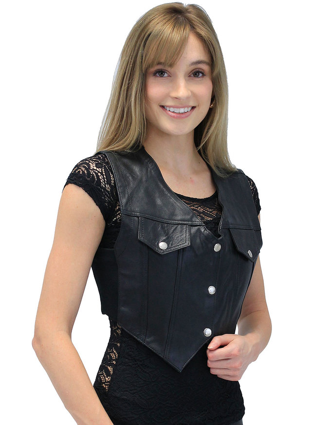 Snap-Up Jean Style Black Leather Crop Vest #VL1110CK