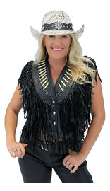 Genuine Bone Studded Fringe Leather Vest #VL4253FBSK (XS-L)