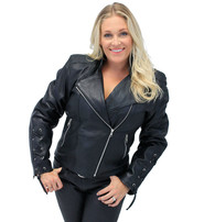 Jamin Leather Women's Lambskin Motorcycle Jacket w/X-Lace Cuffs #L220XZK