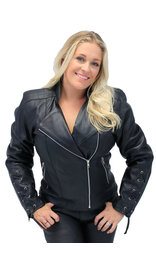 Jamin Leather Women's Lambskin Motorcycle Jacket w/X-Lace Cuffs #L220XZK (S-2X)