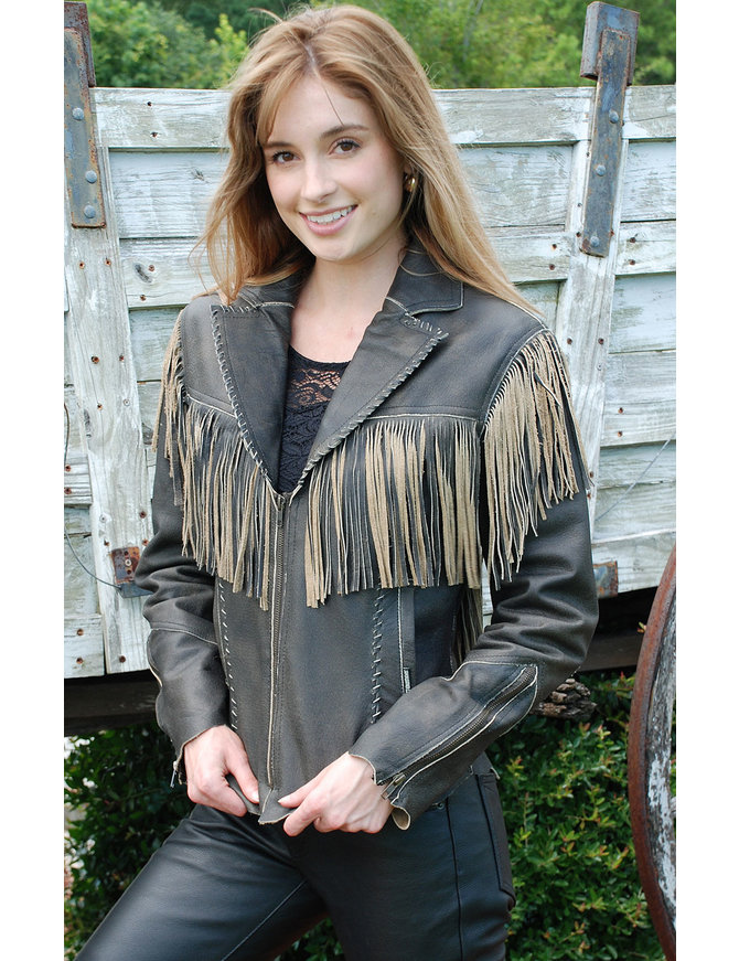 Jamin Leather Womens Cut Edge Brown Leather Fringe Western Jacket #LA21488FN