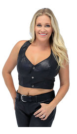 Snap Front Leather Halter Top #LH1103K (XS-2X)