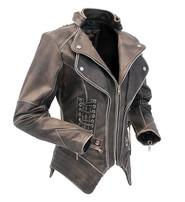 Jamin Leather Women's Brown Vintage Steampunk Leather Jacket w/CCW Pocket #LA15070XZZN
