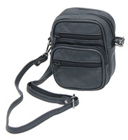 Black Leather Belt Pouch, Cigarette Case with Shoulder Strap #A8701K